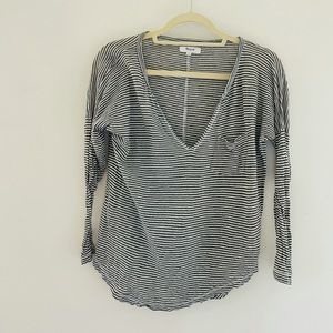 Madewell Small Striped V Neck Top Green G9